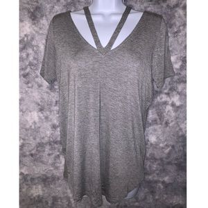 Tops - Grey T-shirt with cross back detail